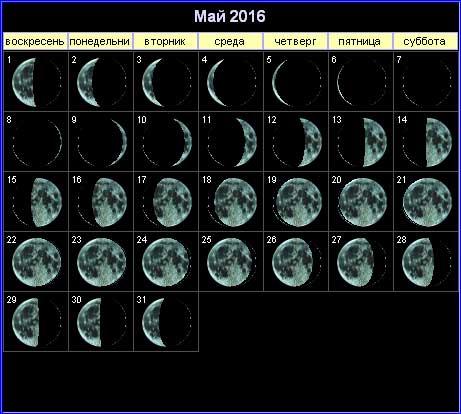 Лунный календарь на май 2016