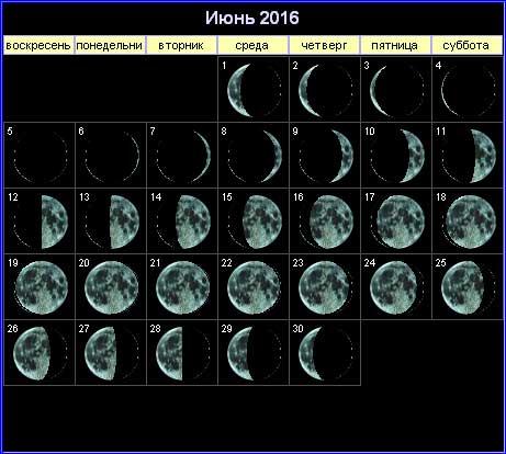 Лунный календарь на июнь 2016