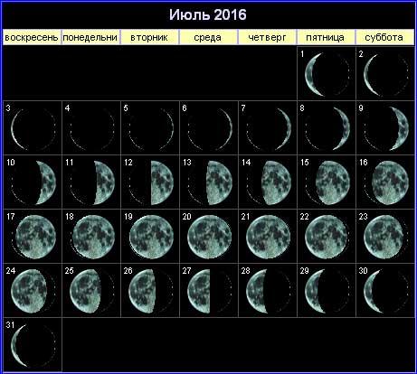 Лунный календарь на июль 2016