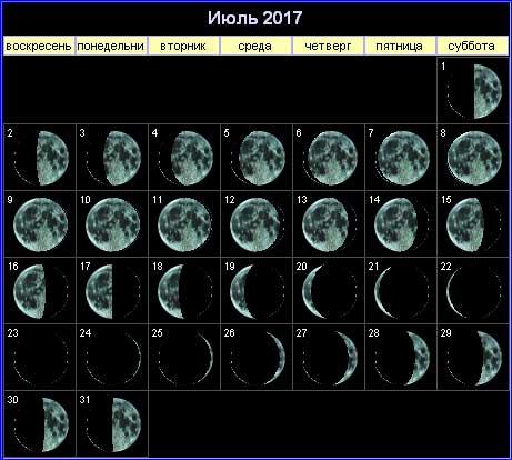 Лунный календарь на июль 2017