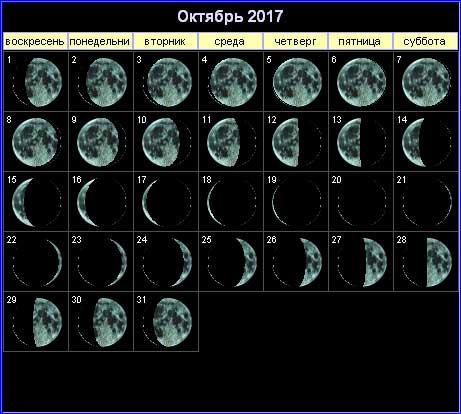 Лунный календарь на октябрь 2017