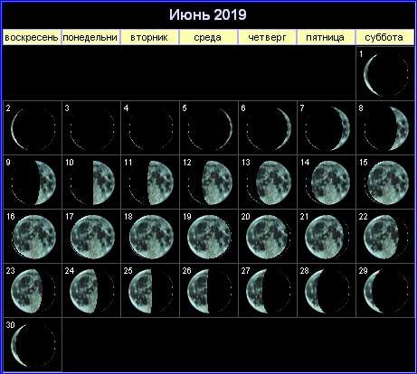 Лунный календарь на июнь 2019