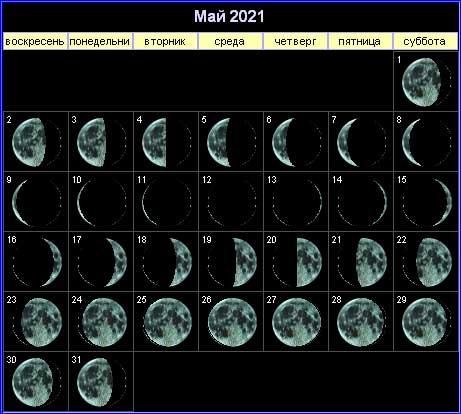 Лунный календарь на май 2021