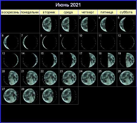 Лунный календарь на июнь 2021