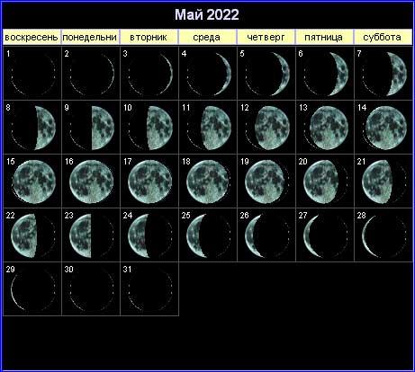 Лунный календарь на май 2022