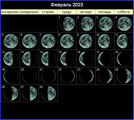 Лунный календарь на февраль 2023