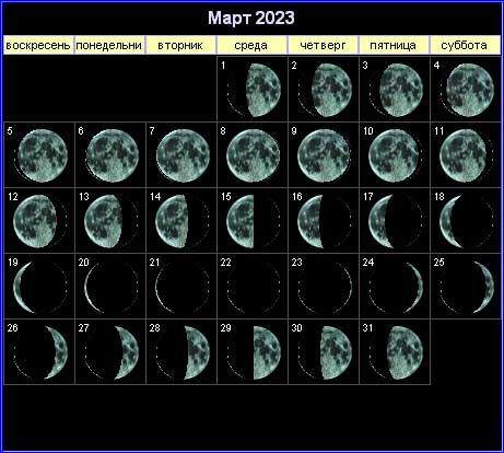 Лунный календарь на март 2023