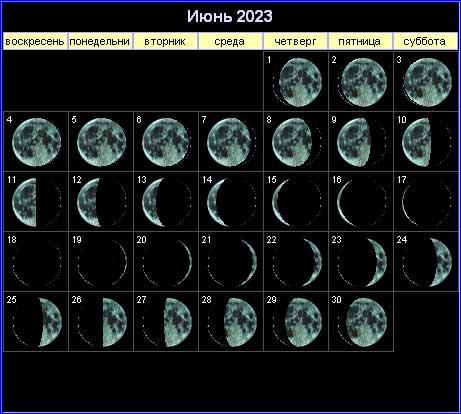 Лунный календарь на июнь 2023