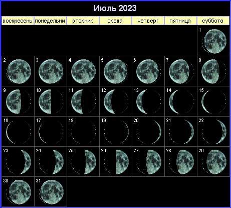 Лунный календарь на июль 2023