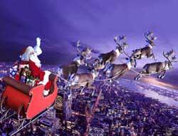 Дед Мороз на оленьей упряжке