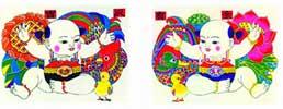 китайские лубочные новогодние картинки